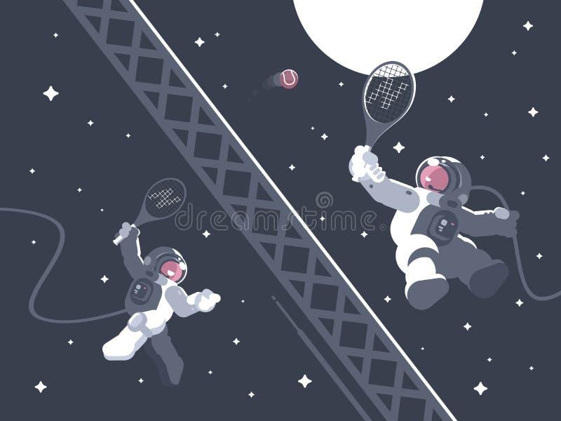 Astronautas que jogam o tênis no espaço ilustração stock