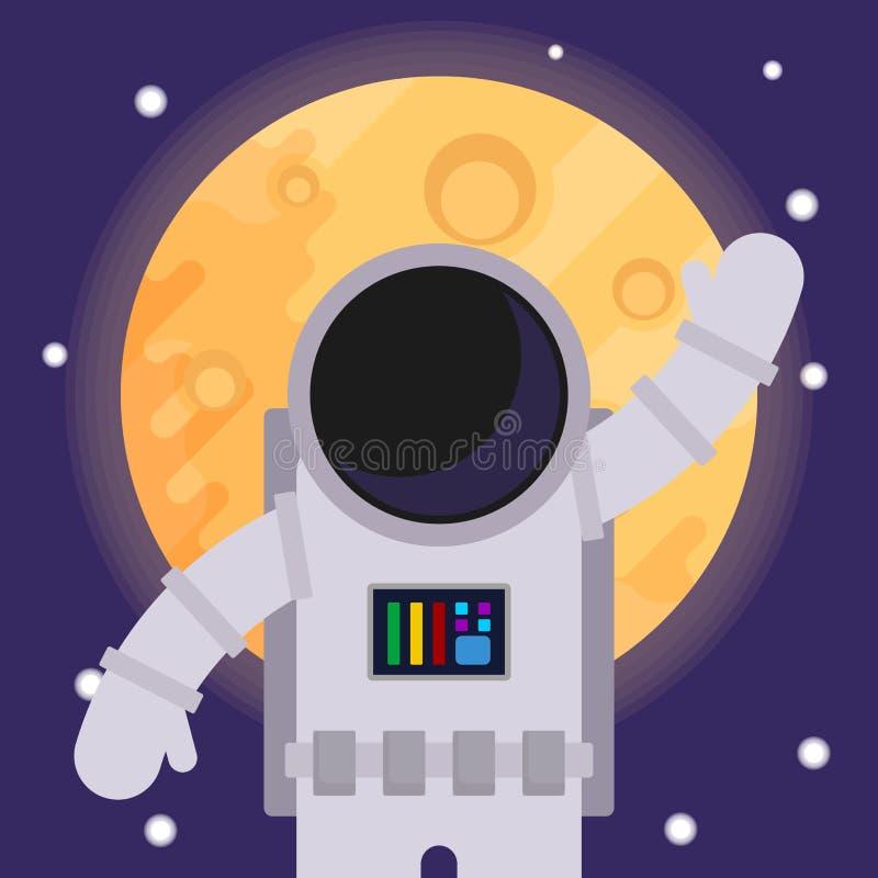 Astronaute avec la main augmentée dans la salutation, contre le contexte de la lune illustration de vecteur