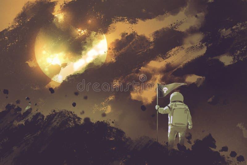 Astronaute avec un drapeau se tenant sur la montagne contre un ciel nuageux illustration libre de droits