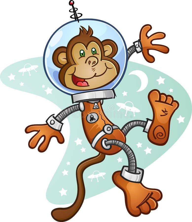 Astronaute Cartoon Character de singe dans un costume d'espace illustration libre de droits