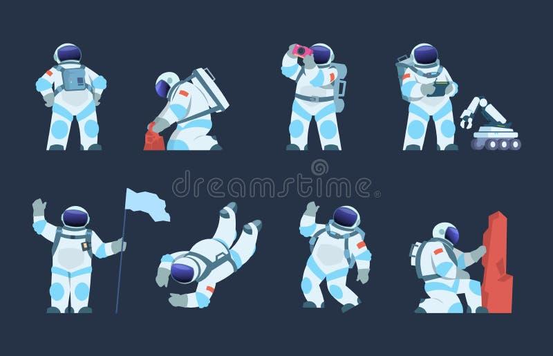 Astronaute Character Conception d'astronaute de bande dessinée, cosmonaute dans le mouvement, prenant le selfie volant et marchan illustration stock