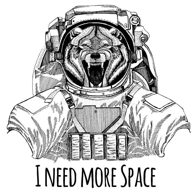 Astronaute d'animal de Wolf Dog Wild Costume d'espace Image tirée par la main de lion pour le tatouage, T-shirt, emblème, insigne illustration libre de droits