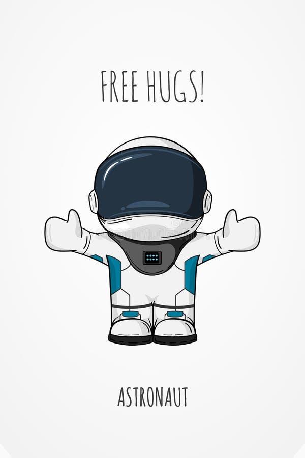Astronaute d'illustration de vecteur Concept de construction Libérez les étreintes salutation embrassez Caractère à la mode migno illustration libre de droits