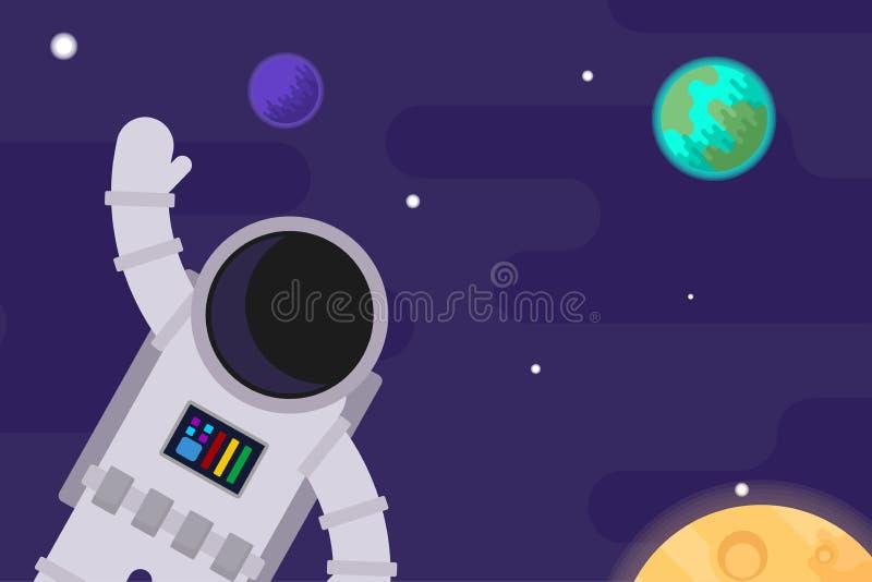 Astronaute dans la perspective de l'espace et des planètes Illustration plate de vecteur illustration libre de droits