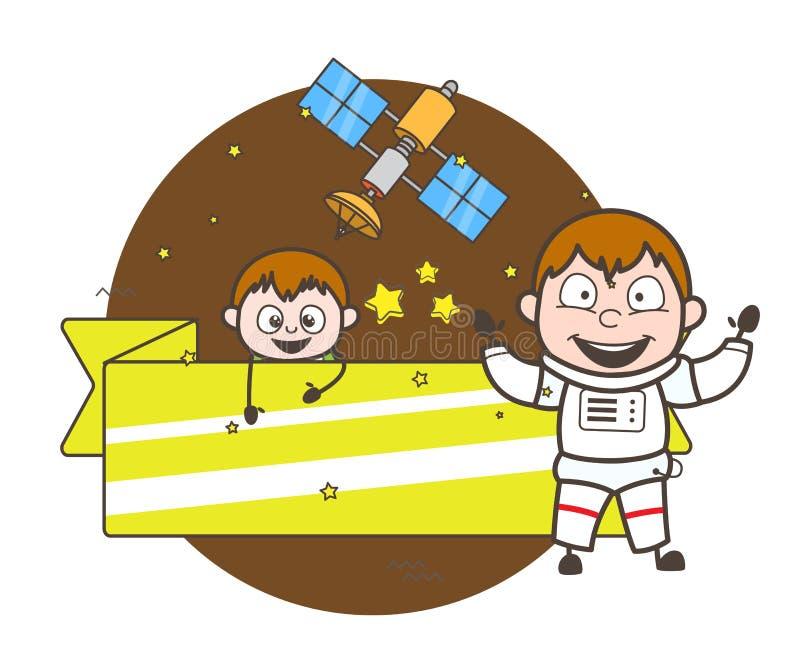 Astronaute de bande dessinée avec l'illustration mignonne de vecteur de bannière d'enfant et d'annonce illustration libre de droits