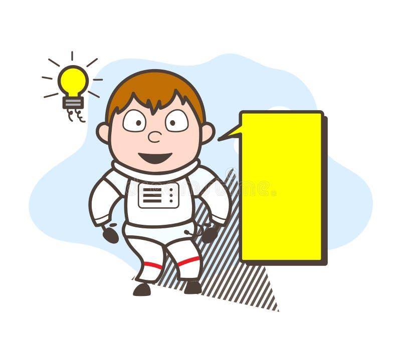 Astronaute de bande dessinée avec l'illustration de vecteur de bannière d'annonce illustration stock