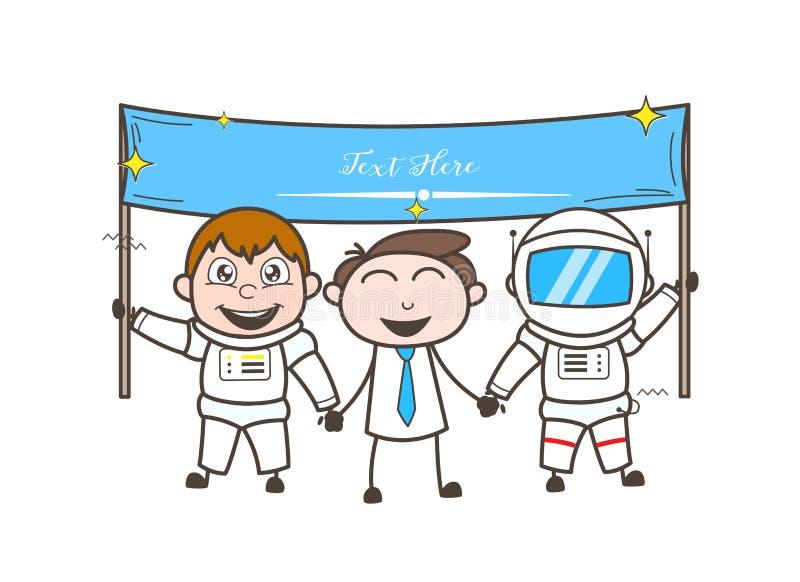 Astronaute de bande dessinée avec l'illustration de vecteur de bannière d'homme d'affaires et d'annonce illustration libre de droits