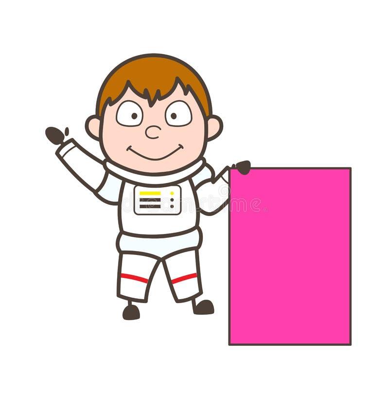 Astronaute de bande dessinée avec l'illustration de vecteur de panneau d'annonce illustration de vecteur
