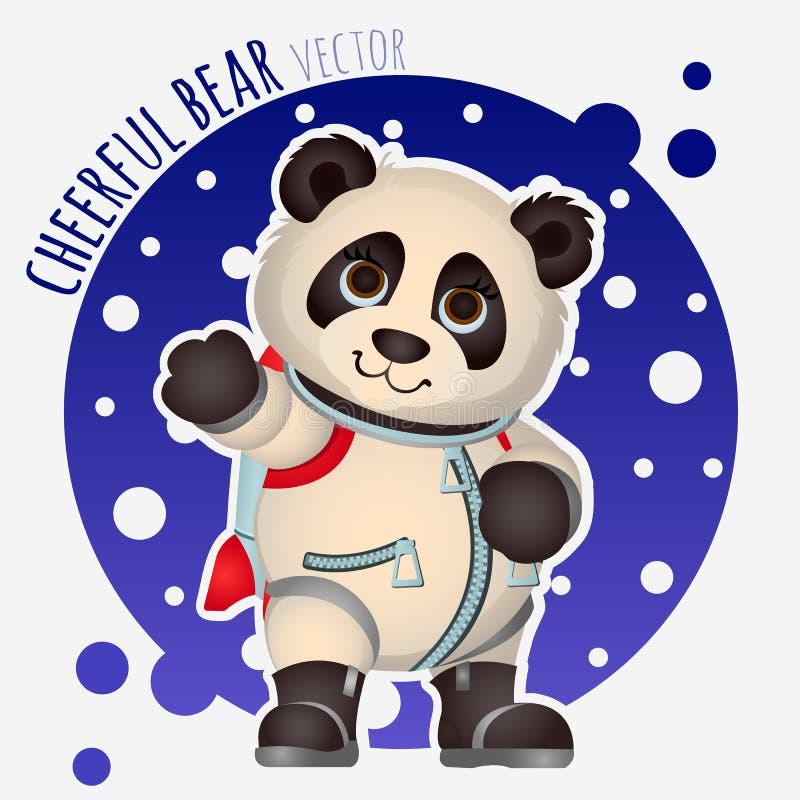 Astronaute de panda, caractère drôle de vecteur illustration stock