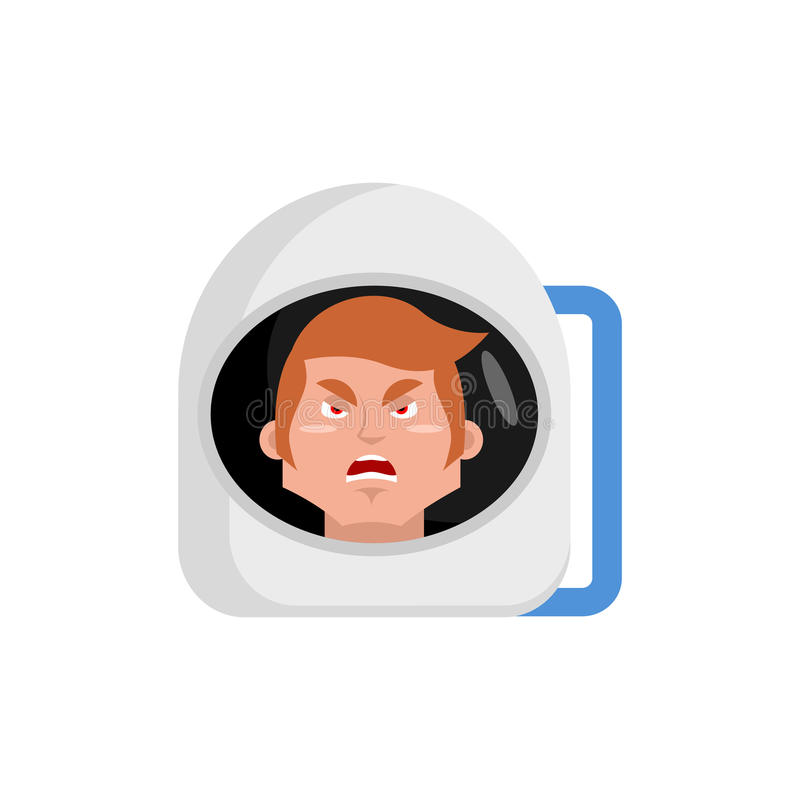 Astronaute Emoji fâché émotion agressive d'astronaute d'isolement illustration stock