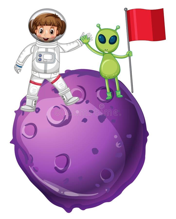Astronaute et étranger sur la planète pourpre illustration de vecteur