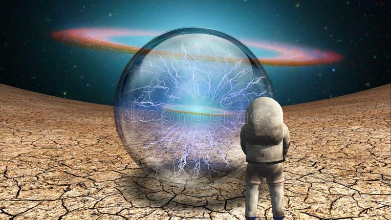 Astronaute et boule de cristal illustration libre de droits