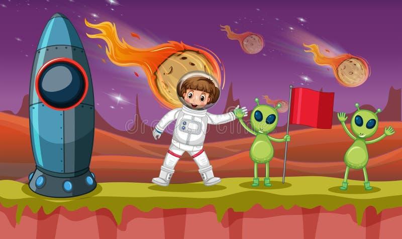 Astronaute et deux étrangers sur la planète étrange illustration stock