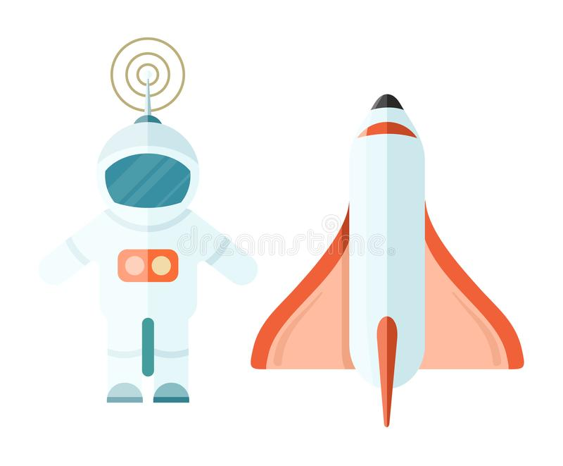 Astronaute et espace Rocket sur le blanc illustration de vecteur