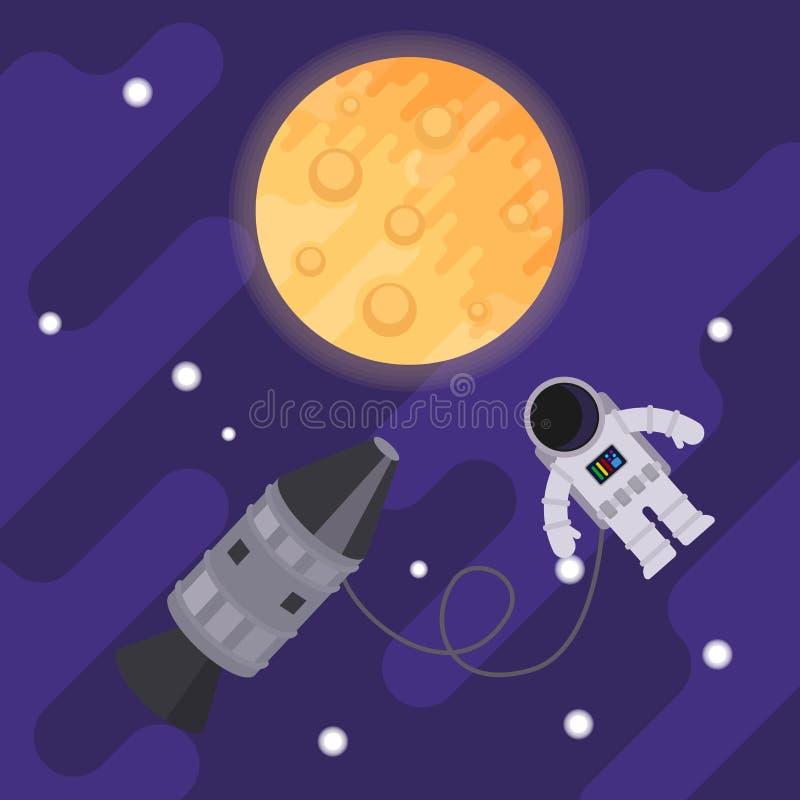 Astronaute et fusée dans l'espace ouvert sur le fond de la lune Illustration plate de vecteur illustration de vecteur