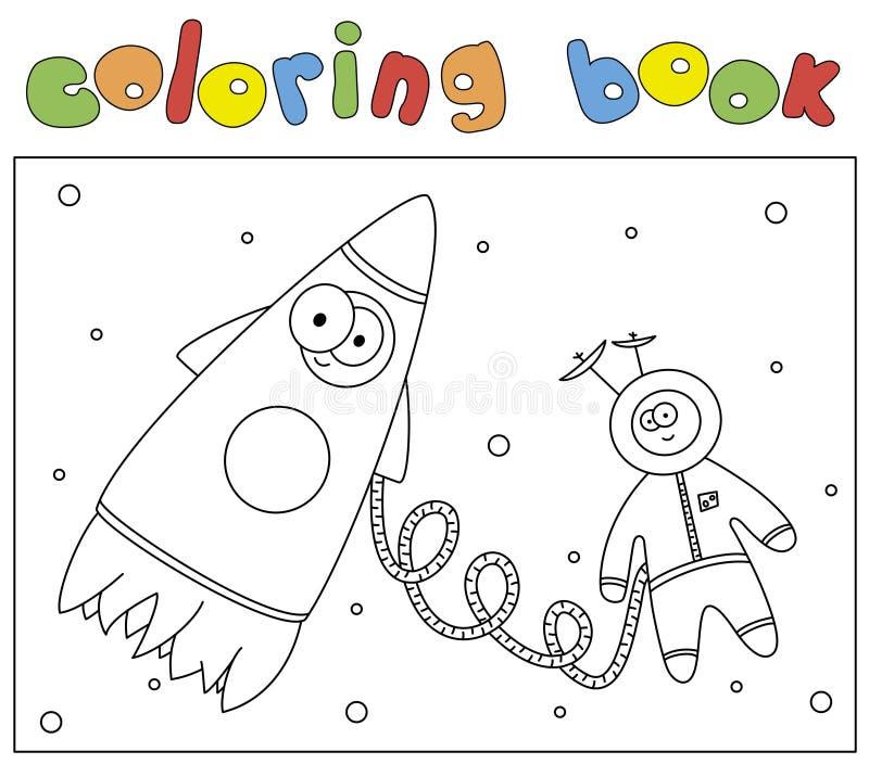 Astronaute et fusée drôles Livre de coloriage pour des enfants illustration libre de droits