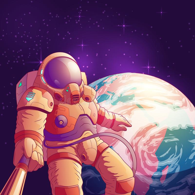 Astronaute faisant le selfie dans le vecteur d'espace extra-atmosphérique illustration de vecteur