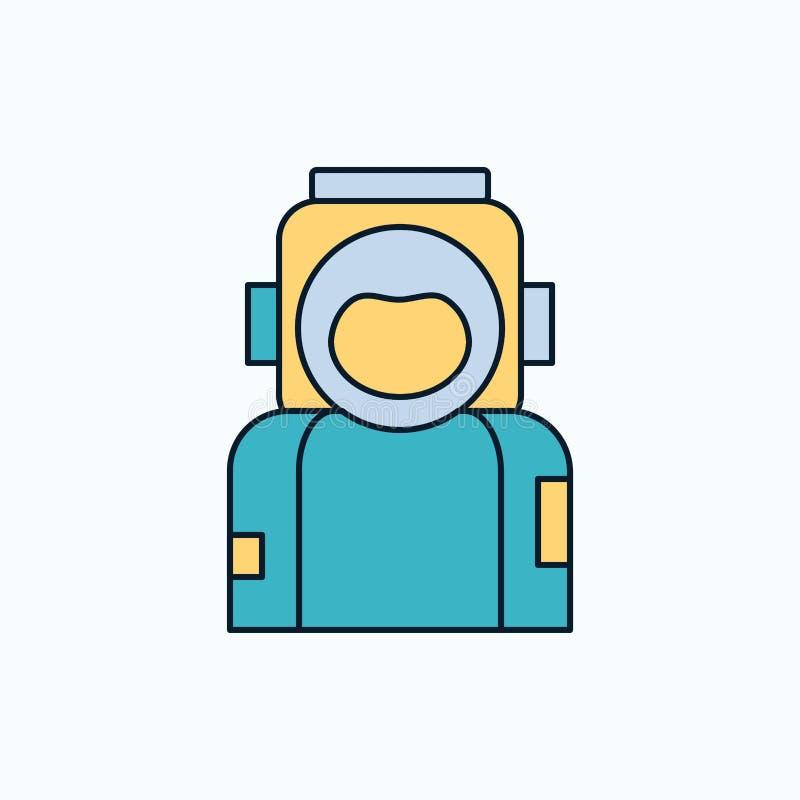 astronaute, l'espace, astronaute, casque, icône plate de costume signe et symboles verts et jaunes pour le site Web et l'appliati illustration de vecteur