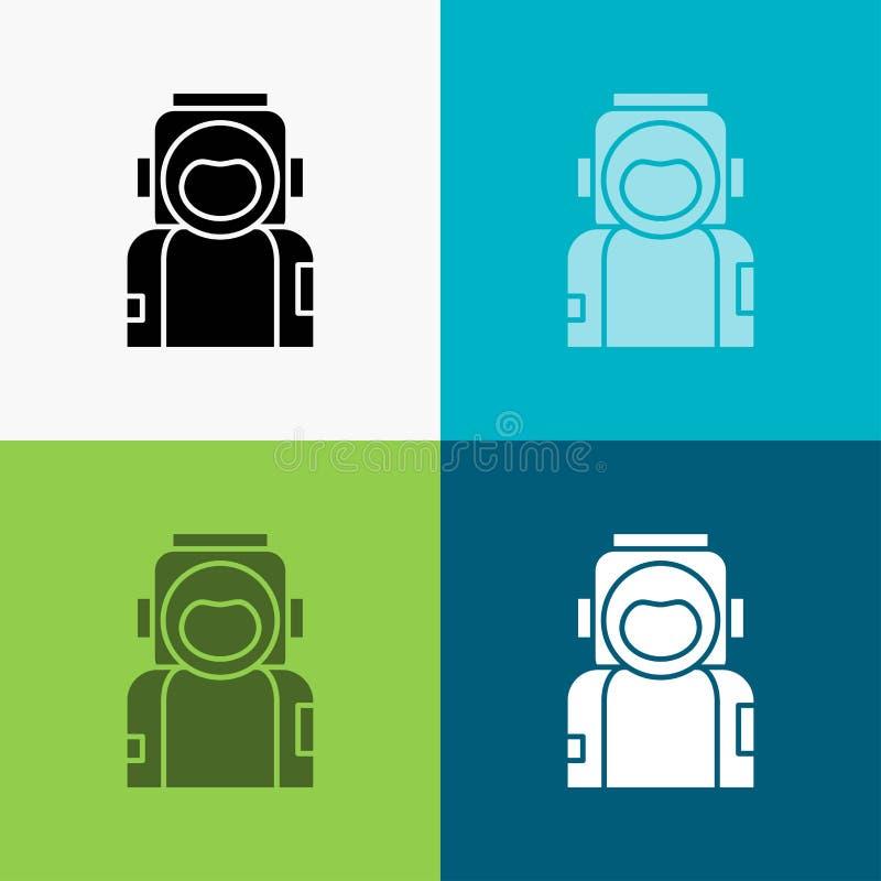 astronaute, l'espace, astronaute, casque, ic?ne de costume au-dessus de divers fond conception de style de glyph, con?ue pour le  illustration stock