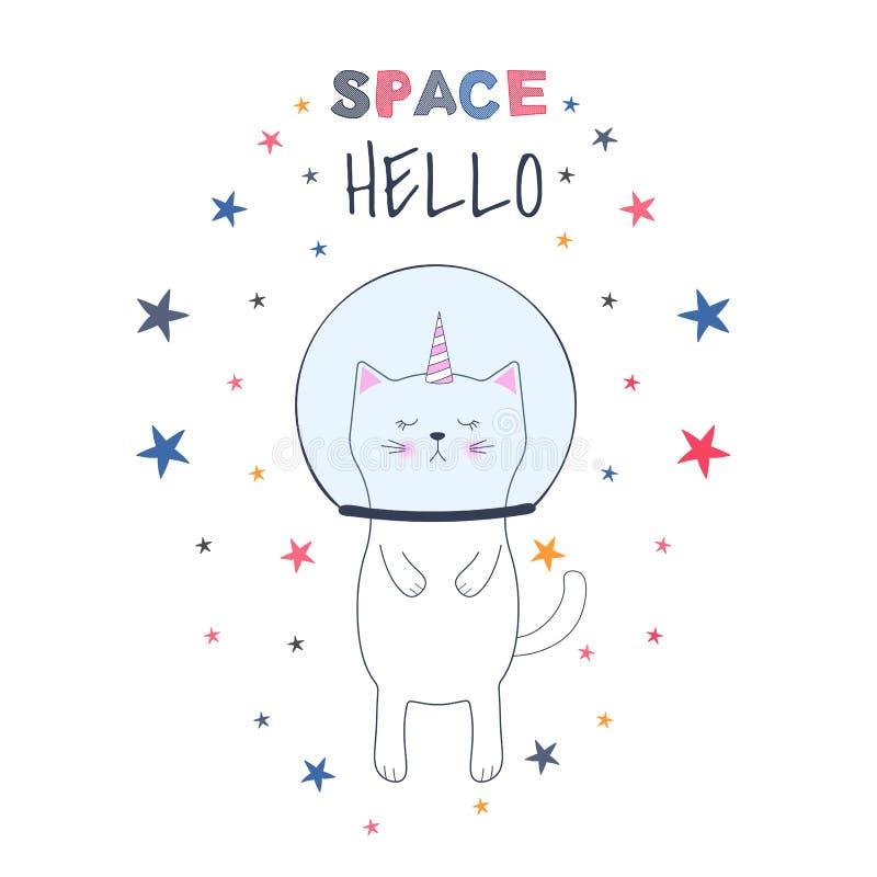 Astronaute mignon de licorne de chat de bande dessinée dans l'espace Illustration de vecteur Carte de voeux illustration libre de droits