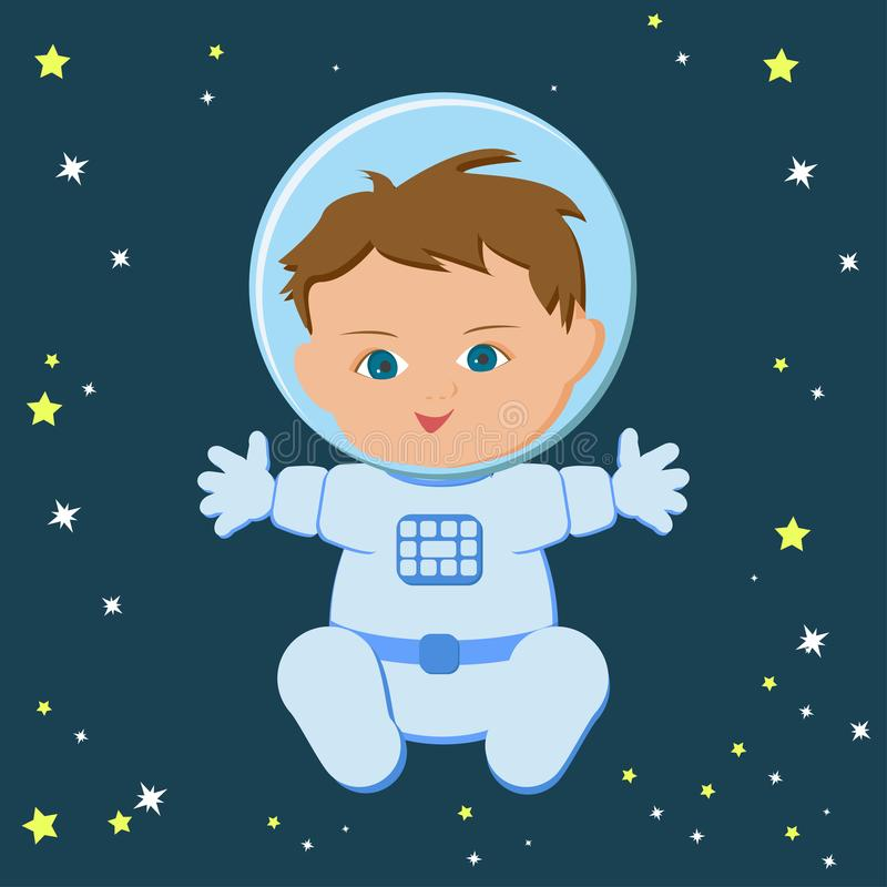 Astronaute s'asseyant mignon de bébé garçon dans un spacecuit et un casque illustration de vecteur