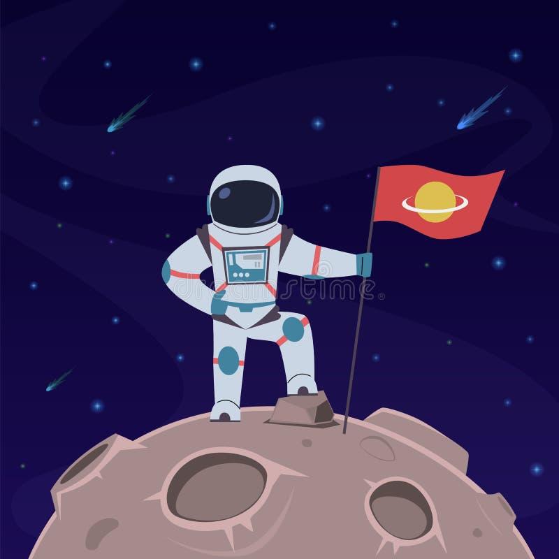 Astronaute sur la lune Spaceman avec drapeau dans la combinaison spatiale explore la surface de la lune Planète futuriste dans l' illustration stock