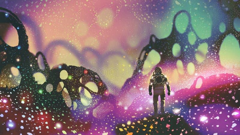 Astronaute sur la planète étrangère illustration stock