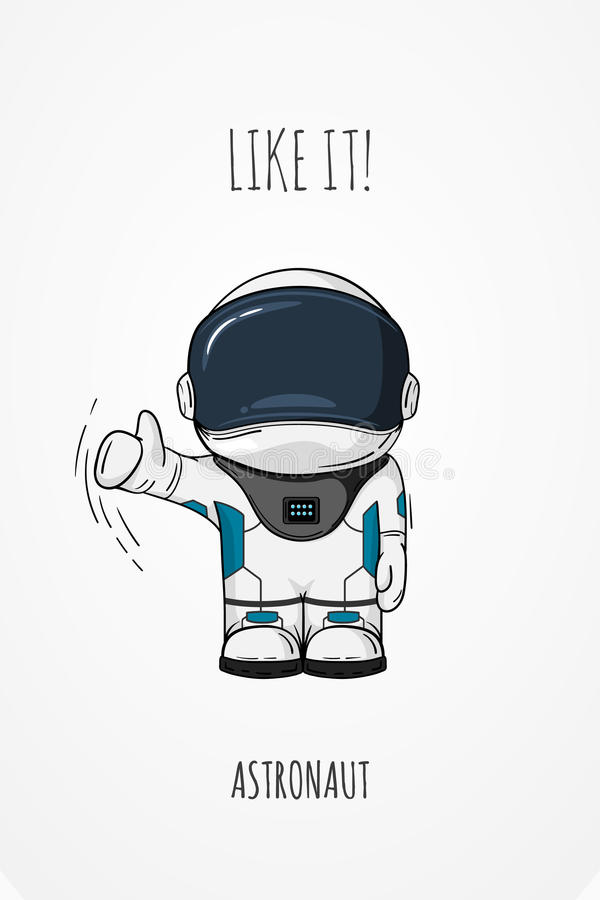Astronaute tiré par la main dans la combinaison spatiale Illustration cosmique de vecteur de schéma Pouces vers le haut comme illustration stock