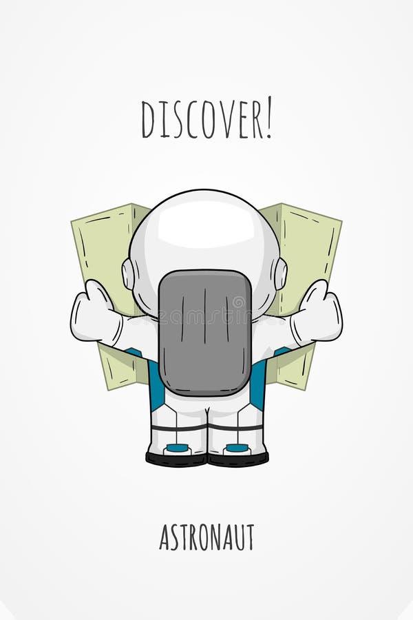 Astronaute tiré par la main de bande dessinée dans la vue de dos de combinaison spatiale Regard cosmique de cosmonaute d'illustra illustration stock