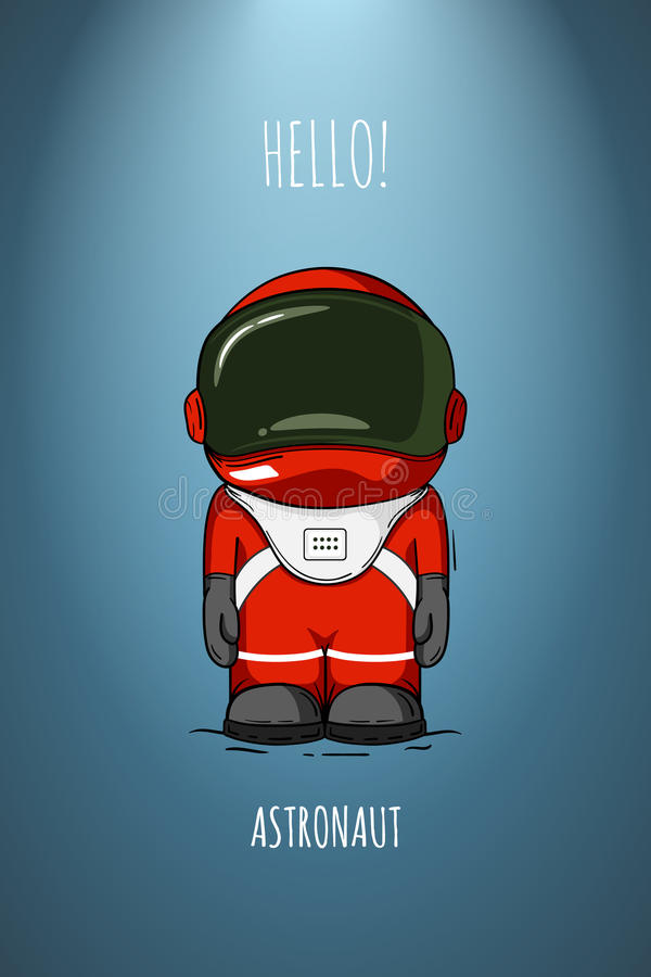 Astronaute tiré par la main de bande dessinée dans le costume d'espace On est mort Cosmonaute cosmique d'illustration de vecteur  illustration libre de droits