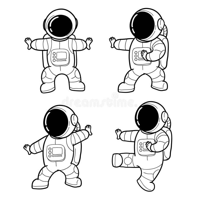 Astronaute tir? par la main mignon illustration stock