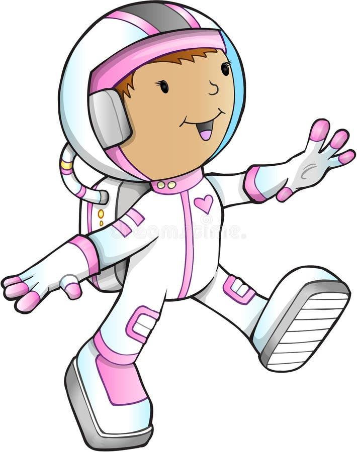 Astronaute Vector de fille illustration de vecteur