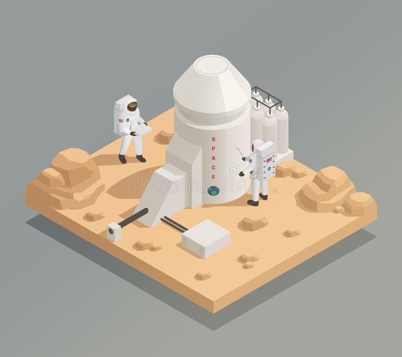 Astronauten auf Planeten-isometrischer Zusammensetzung stock abbildung