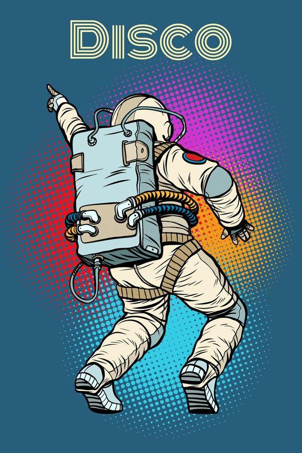 Astronauten dansende disco stock illustratie