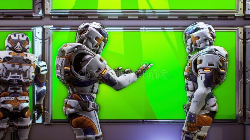 Astronauten dichtbij het dashboard met het groene scherm van het ruimtevaartuig Super realistisch concept het 3d teruggeven vector illustratie