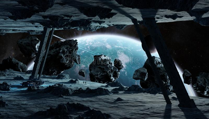 Astronauten die een stervormige ruimteschip 3D teruggevende elementen onderzoeken royalty-vrije illustratie