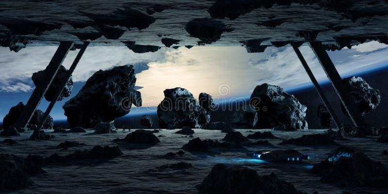 Astronauten die een stervormige ruimteschip 3D teruggevende elementen onderzoeken stock illustratie