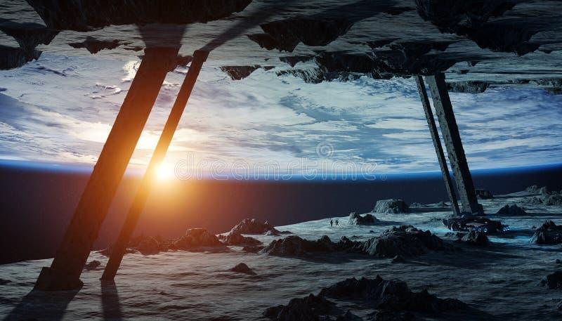 Astronauten die een stervormige ruimteschip 3D teruggevende elementen onderzoeken vector illustratie