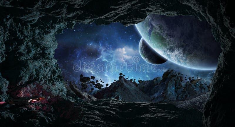 Astronauten, die eine Höhle in den sternartigen Elementen der Wiedergabe 3D von erforschen stock abbildung