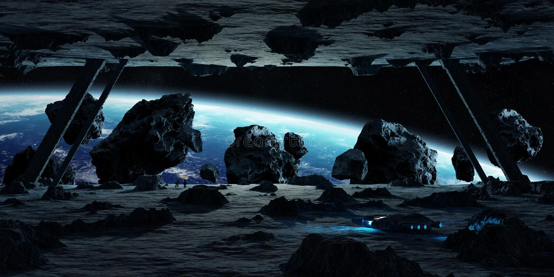 Astronauten, die Elemente einer des Asteroidraumschiffes 3D Wiedergabe erforschen stock abbildung
