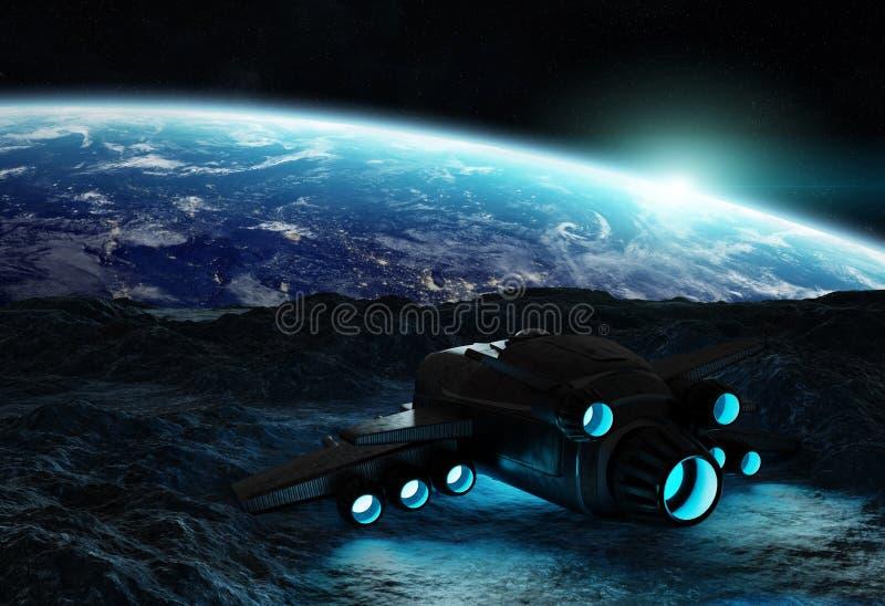 Astronauten, die Elemente einer sternartige Wiedergabe 3D von diesem i erforschen stock abbildung