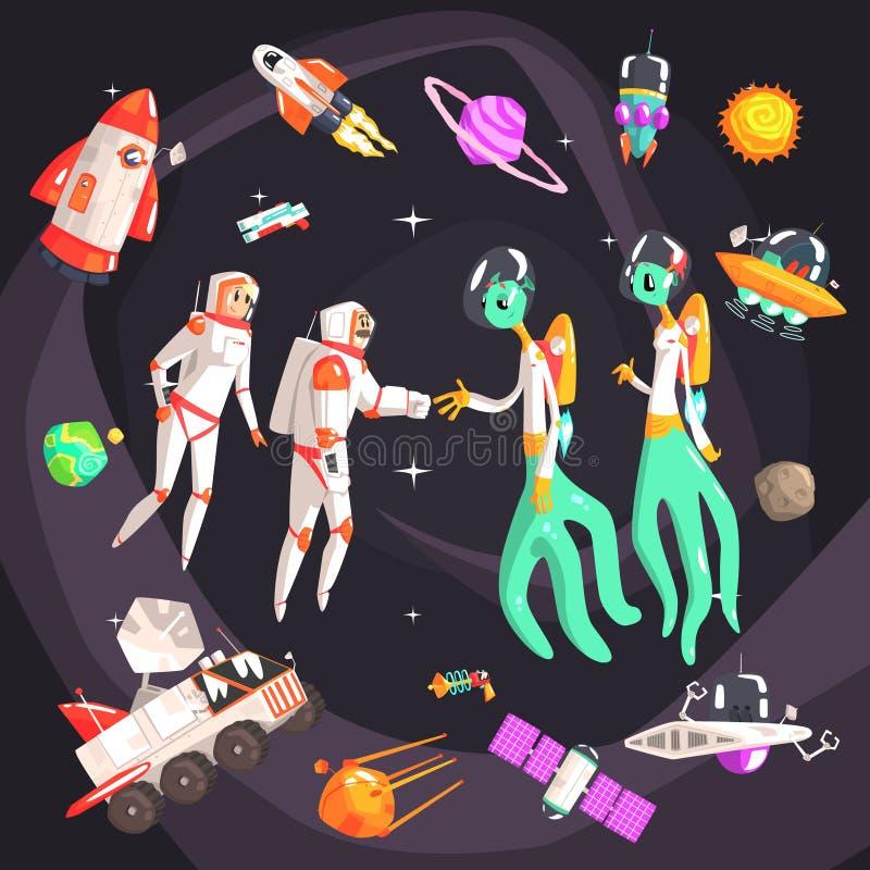 Astronauten, die Hände mit außerirdischen Wesen im Raum umgeben durch Reise-in Verbindung stehende Gegenstände rütteln vektor abbildung