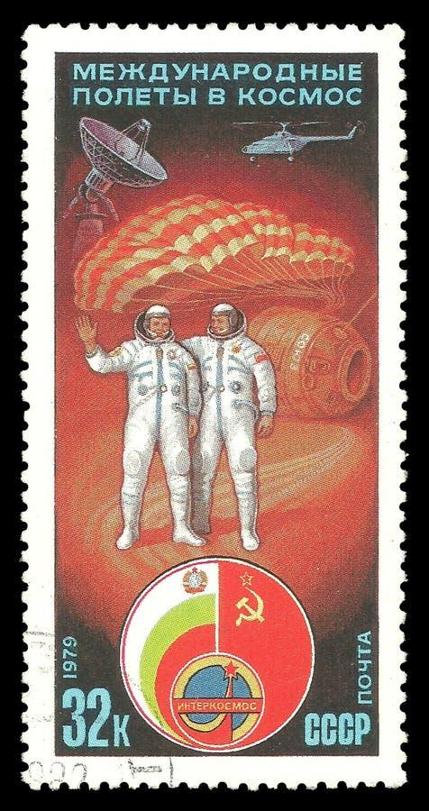 Astronauten en het landen module stock afbeelding