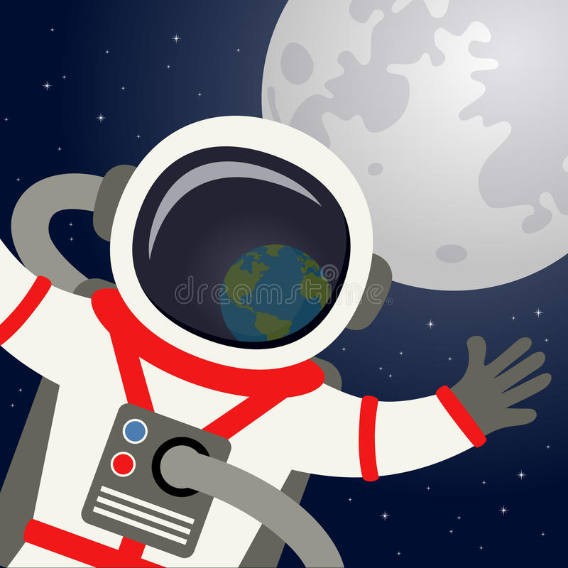 Astronauten-Helmet Reflecting Planet-Erde lizenzfreie abbildung