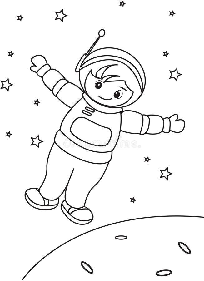 Astronauten kleurende pagina stock illustratie
