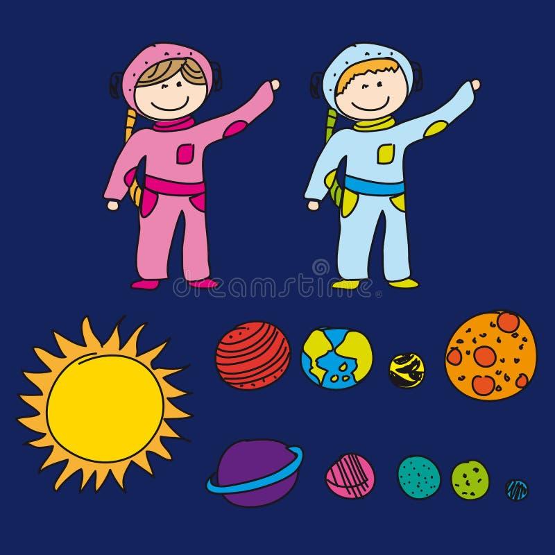 Astronauten met planeten stock illustratie