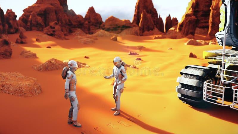 Astronauten op Mars die na de planeetexploratie debatteren royalty-vrije stock afbeelding