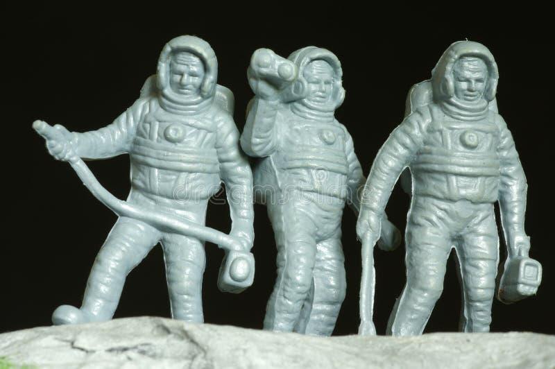 Astronauten plastic speelgoed stock fotografie