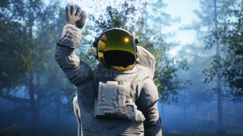 Astronauten` s eerste contact met vreemdelingen Super realistisch concept het 3d teruggeven royalty-vrije stock foto's