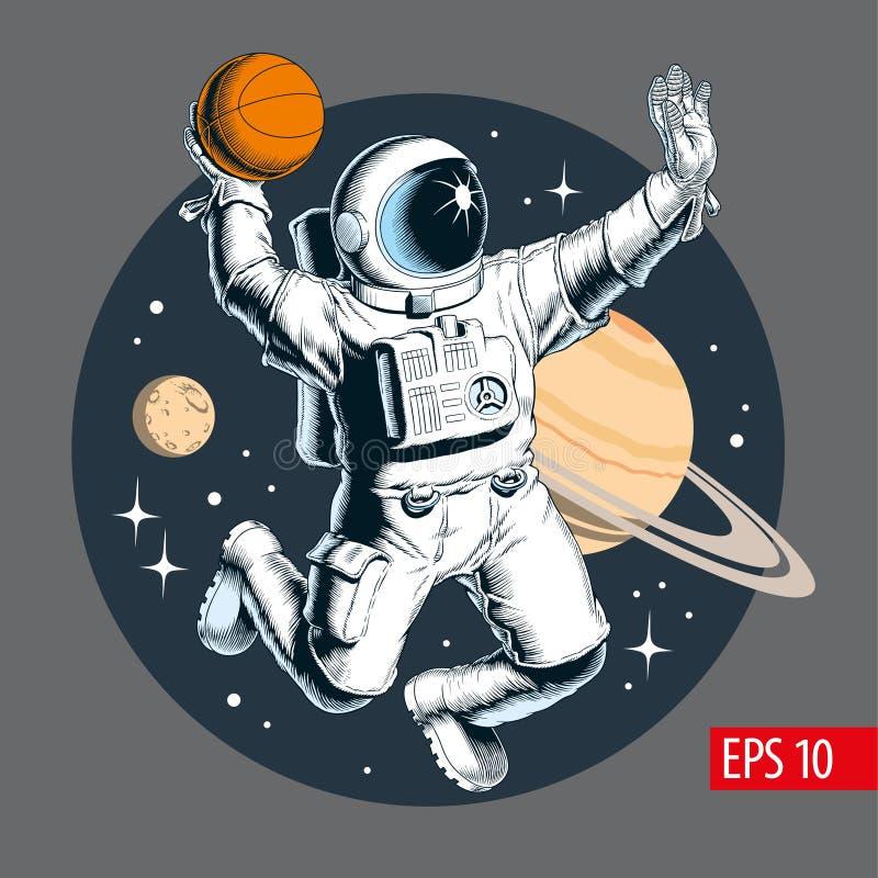 Astronauten speelbasketbal in ruimte Vector illustratie vector illustratie
